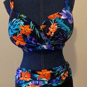 38DD Floral Bikini NWT with Sz 12 bottom